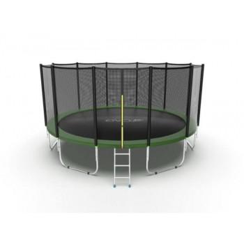 EVO JUMP External 16ft (Green) Батут с внешней сеткой и лестницей, диаметр 16ft (зеленый)
