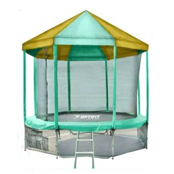 Батут OPTIFIT LIKE GREEN 14 FT с зелено-желтой крышей