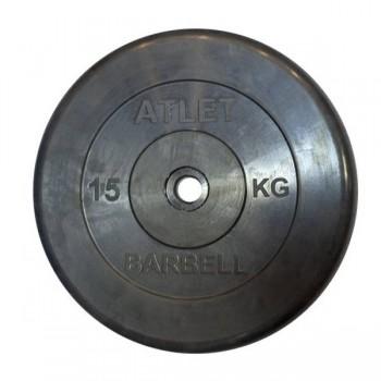Диск обрезиненный Atlet 15кг (Д-26-31-50-мм)