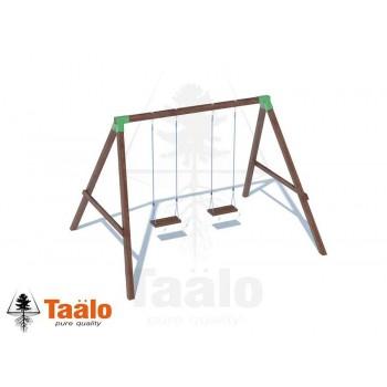 Качели деревянные с сидениями на канатах Taalo
